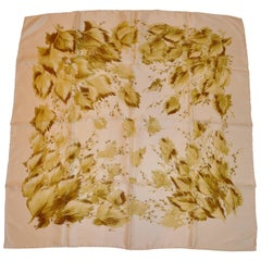Polished Ivory and Shades of Olive & Greens Floral Silk Scarf