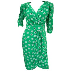1980s Nina Ricci Green Floral Silk Dress