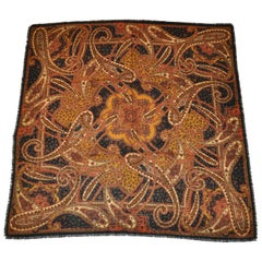 Magnificently Detailed Black with Multi Color Palseys Wool Challis Scarf