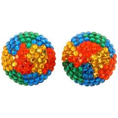 Richard Kerr Colorful Rhinestone Earrings, 1980s