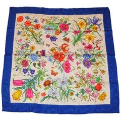 Gucci Signature Multi-Floral with Lapis Border Silk Crepe de Chine Scarf