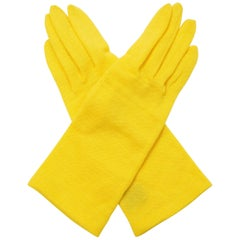 1980s Yohji Yamamoto Yellow Wool Blend Knit Gloves