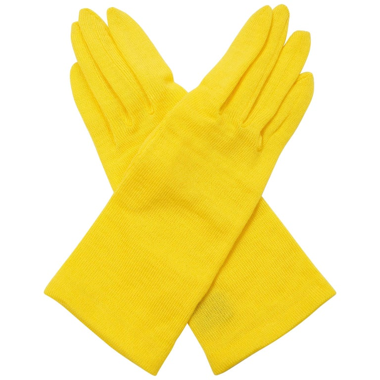 1980s Yohji Yamamoto Yellow Wool Blend Knit Gloves