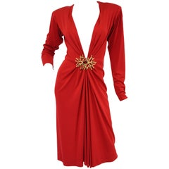 Yves Saint Laurent Silk Jersey Red Plunge Front Dress, 1980s