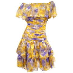 1990s Oscar de la Renta Silk Gold Floral Off the Shoulder Dress