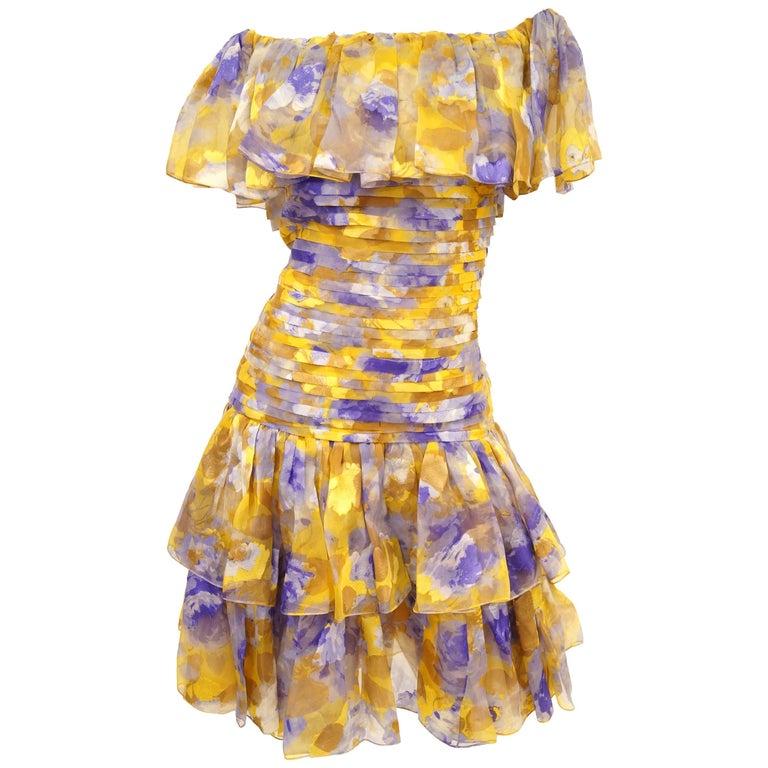 1990s Oscar de la Renta Silk Gold Floral Off the Shoulder Dress