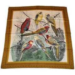 """Perry Ellis Beautiful """"Group of Parrots"""" with Golden Hues Silk Scarf"""