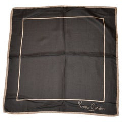 Pierre Cardin Signature Taupe & Coco Brown Silk Scarf