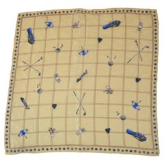 """""""Let's Play Golf"""" Yellow & Beige Silk Scarf"""