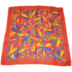 Yves Saint Laurent Vivid Red with Bold Multi-Color Floral Wool Challis Scarf