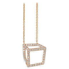 Rose Gold White Diamond Cube Necklace