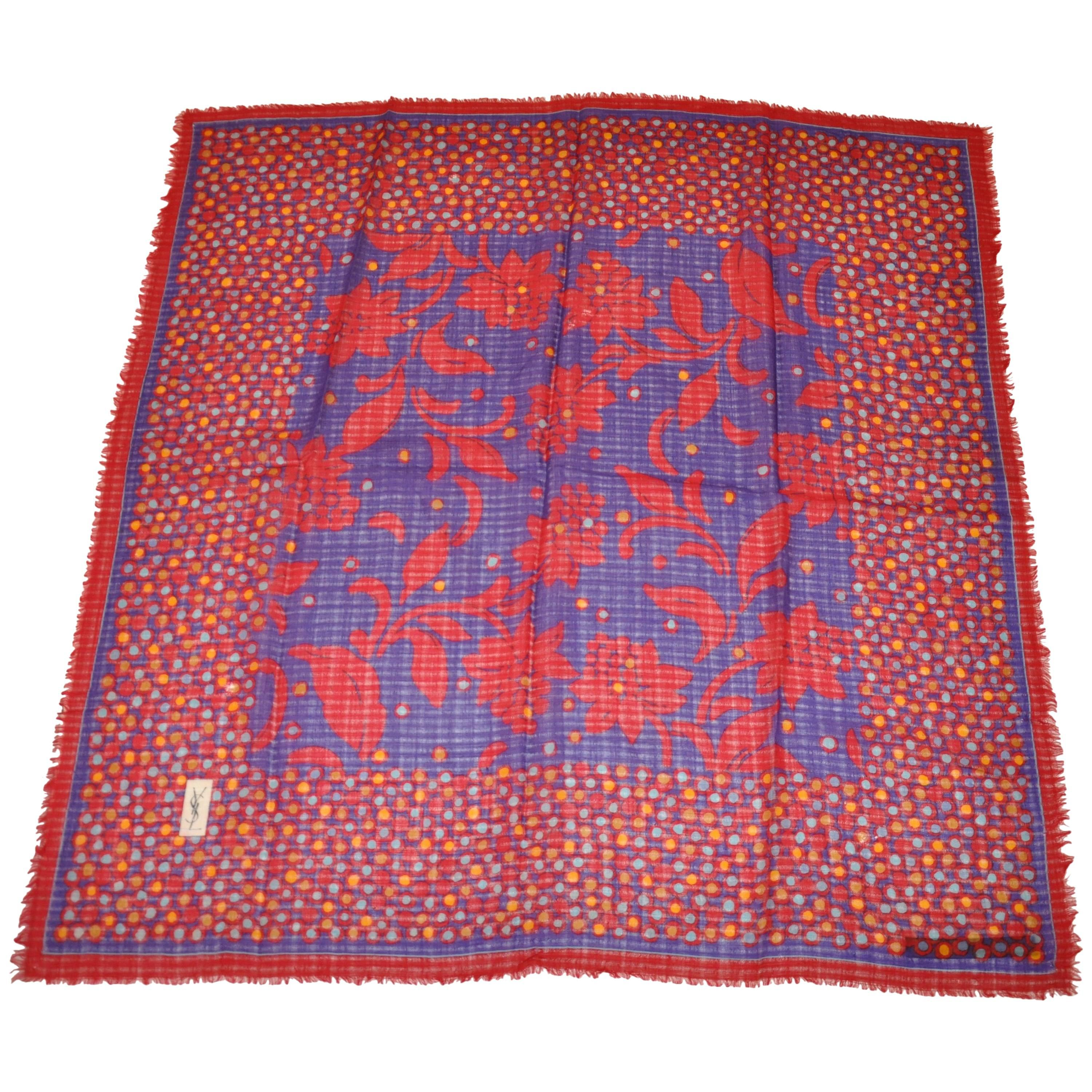 Yves Saint Laurent Red & Lapis Floral with Multi Color Border Wool Challis Scarf