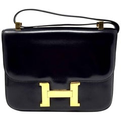 Hermes Paris Vintage Black Box Leather Constance Bag, 1976