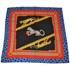Cartier Magnificent Signature Lapis & Black Border Silk Jacquard Scarf
