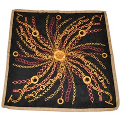 """""""Starburst of Golden Chains & Jewels"""" Silk Crepe di Chine Scarf"""
