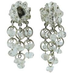 Paco Rabanne Vintage Rock Crystal Dangling Earrings