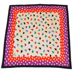 "Yves Saint Laurent Multi Color ""Confetti"" Silk Scarf"
