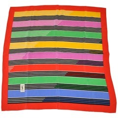 "Yves Saint Laurent Multi-Color ""Striped Rainbows"" with Red Border Silk Scarf"