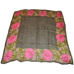 "Emanuel Ungaro Huge Olive & Brown ""Bursting Fuchsia Floral"" Silk Scarf"
