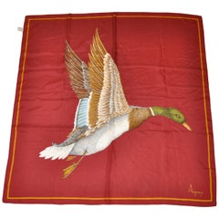"Asprey Signature Burgundy ""Geese"" with Golden Border Silk Scarf"