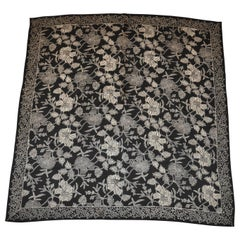 "Black & Ivory Multi ""Floral & Leaves"" Silk Scarf"
