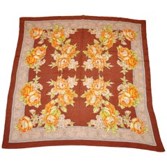 Bursting Shades of Tangerine & Yellow Floral Silk Scarf
