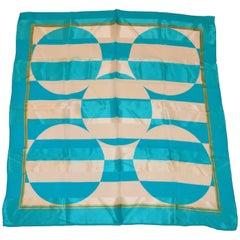 "Adrienne Vittadini Bold Turquoise & Ivory Silk Chiffon ""Circles & Stripe"" Scarf"