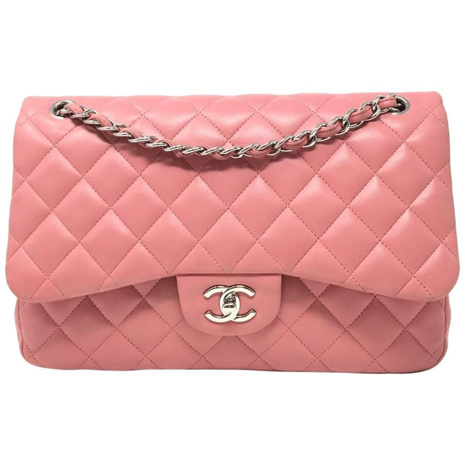 1c3e5c3d914 Chanel Jumbo Pink Quilted Lambskin Leather Double Flap Bag