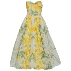 1950's Emma Domb Yellow Roses Floral Print Chiffon Strapless Full Skirt Dress