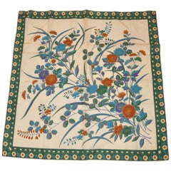 Beige with Multi-Color Floral Center & Green Floral Border Silk Scarf