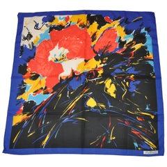 """Gina Renoir Multi-Color """"Graffiti"""" with Blue Boarder Scarf"""