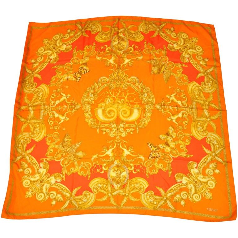 Gianni Versace Bold and Vivid Shades of Tangerines and Gold Silk Scarf