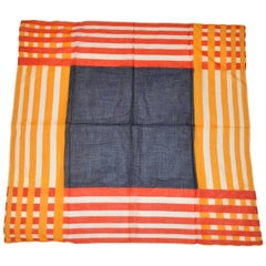 Bold Multi Colors of Squares and Stripes Italian Cotton Scarf