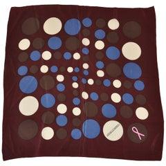 Leonello Borghi Brick-Burgundy Multi Color Polka Dot Silk Scarf