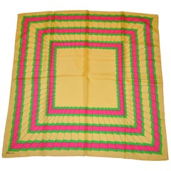 "Mirsa Colorful Fuchsia & Neon Green with Yellow ""Pleated Frame"" Silk Scarf"