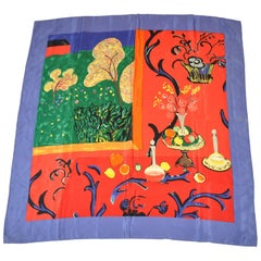 """Vivid """"Table Setting with Window View"""" Silk Scarf"""
