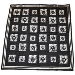 Anne Klein Black & White Signature Logo Silk Scarf