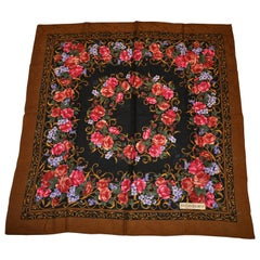 Yves Saint Laurent  Wool Challis Scarf with Coco-Brown Border and Floral Center