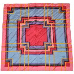 Bold Multi-Color Abstract with Wide Pink Border Scarf