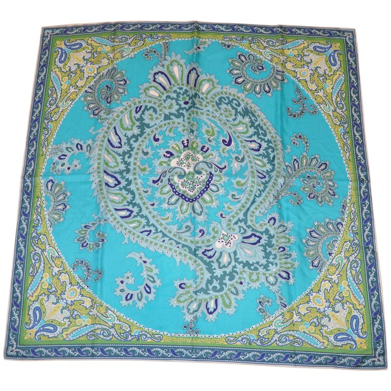 Multiple Shades of Turquoise Paisley Surrounding Huge Paisley Center Silk Scarf
