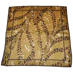"Adrienne Vittadini Multi-Olive ""Jungle"" Silk Scarf"