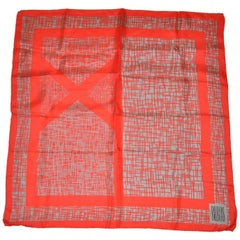 Bill Blass Bold and Vivid Red with Steel Gray Silk Scarf