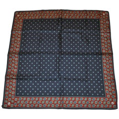 Deep Navy and Burgundy Multiple Pattern Silk Scarf with Hand-Rolled Edges