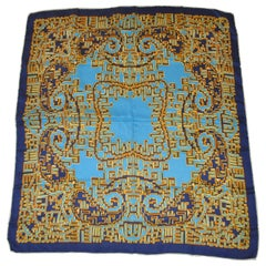 Patricia Duval Multiple Shades of Blue Tangerine and Yellow Silk Crepe Scarf