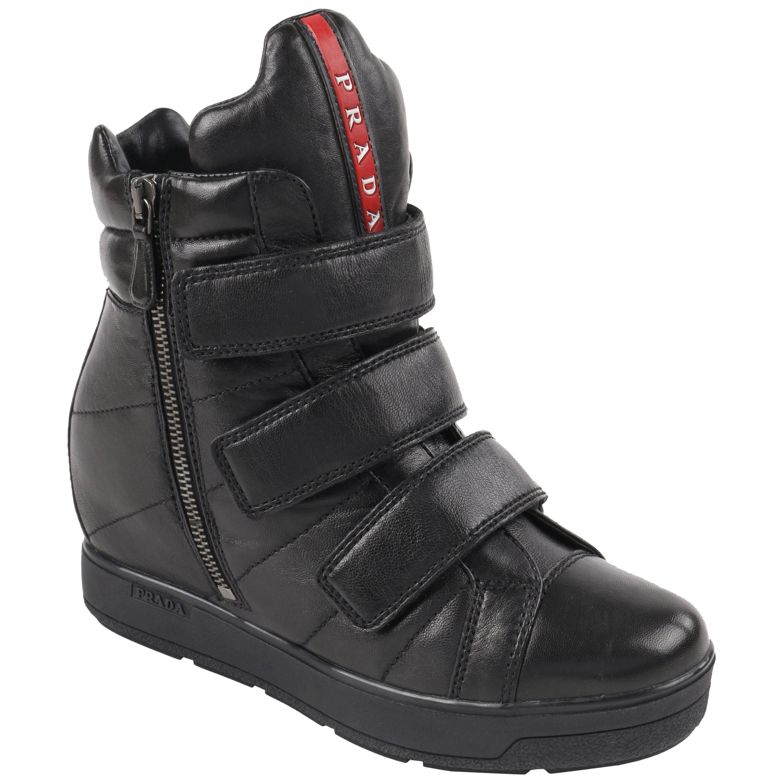 PRADA Sport A/W 2013 Black Vitello Leather Triple Strap Hi Top Wedge Sneakers