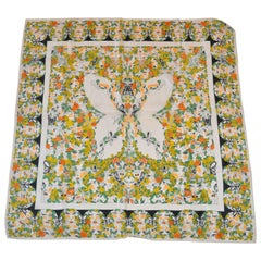 """Multi-Color """"Ladies Profiles Surrounding Butterfly"""" Silk Scarf"""