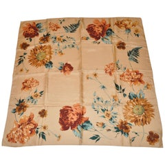 "Echo Warm Beige with Multi ""Bursting Florals"" Silk Scarf"