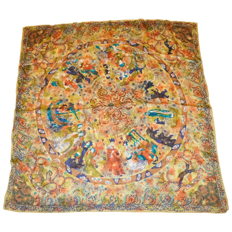 """Multi-Color Large Silk """"Medieval Characters"""" Scarf"""