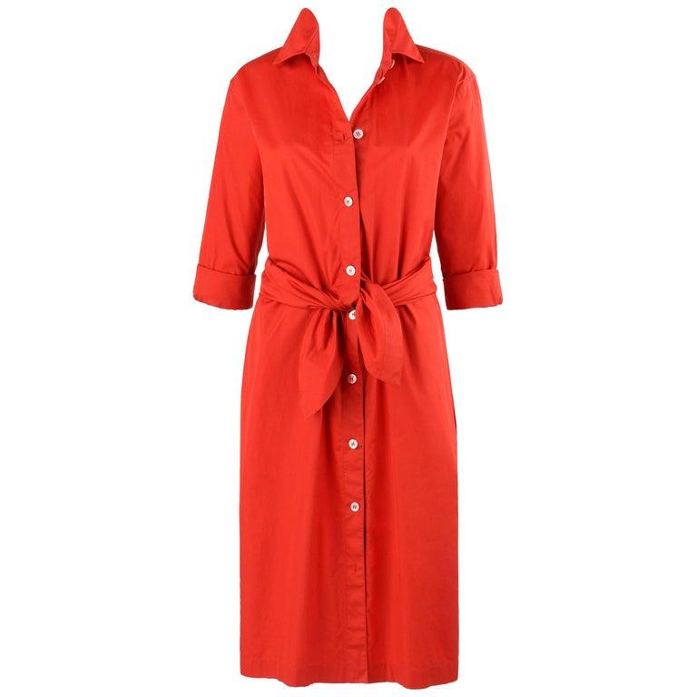 HERMES S/S 2004 Martin Margiela Coquelicot Tie Front Shirt Waist Dress