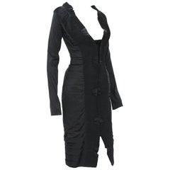 Gucci by Tom Ford F/W 2004 AD Runway Silk Black Plisse Cocktail Dress It. 38